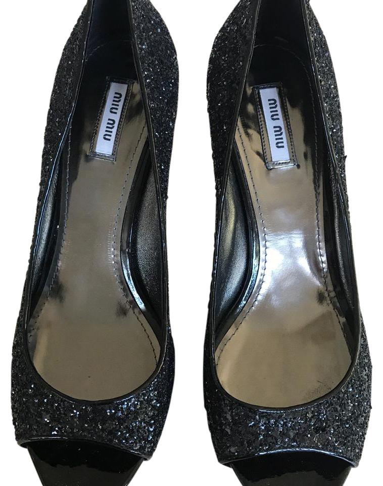 d503953eba3 Miu Miu Black Open Toe Sparkle Pump Formal Shoes Size EU 40 (Approx ...