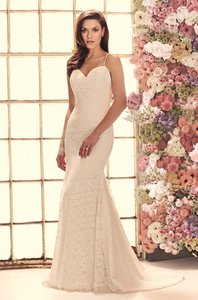 Mikaella Bridal Natural/Pearl Lace 1911 Traditional Wedding Dress Size 6 (S)