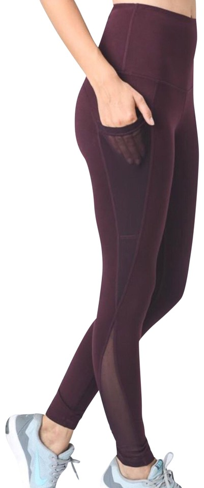 0df0a32d0e Unique Magenta Plum S Mesh Yoga Pants with Pockets High Waist Not See TK65
