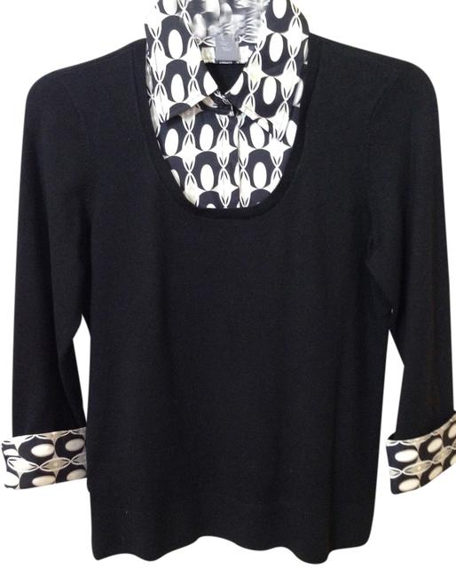 Ann Taylor Top Black with multi-trim