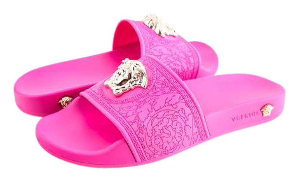 new style 8099d a2124 Versace Medusa Palazzo Slides Pink Boots Booties