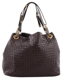 Bottega Veneta Brown Leather Tote in Dark Brown