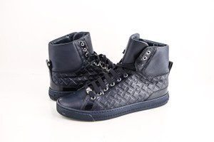 Versace Black Blue Grecca Embossed Sneakers Shoes