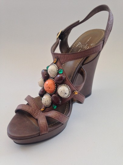 Linea Paolo Embellished Brown Wedges