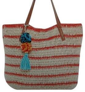 Straw Studios Paper Pompom Tassel Tote in red and natural with flecks of gold
