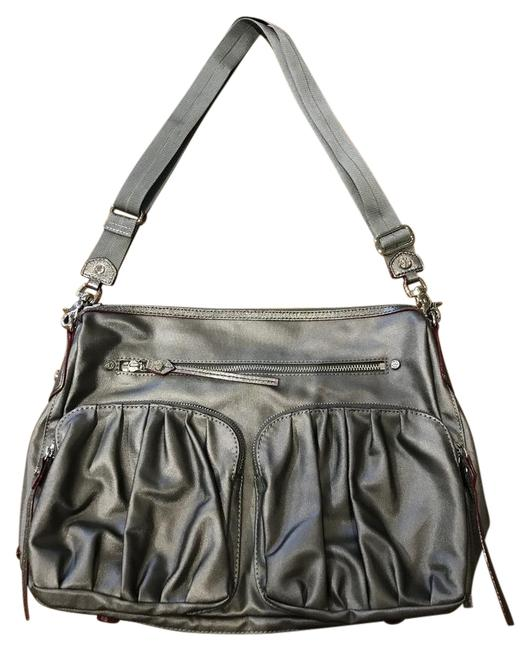 Item - Hayley Strap and Canvas with Leather Accent Silver/Gunmetal Nylon Cross Body Bag