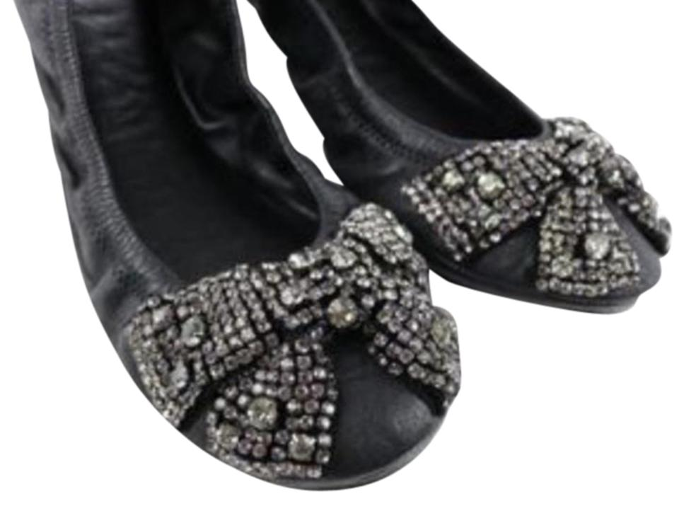 1f79fb2d1ec1 Tory Burch Black Eddie Leather Rhinestone Bow Ballet Flats Size US 8 ...