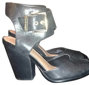 Vince Camuto Black With Gold Buckle Wedges