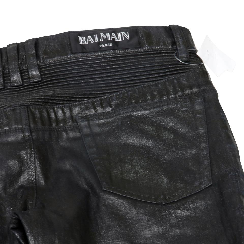 d6b4c819 Balmain Black Coated Mens Wax Japanese Denim Noir Biker Moto Luxury ...