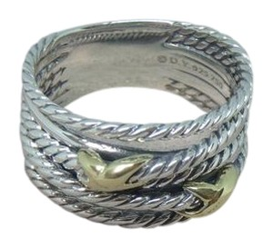 David Yurman sterling silver ring with Double Gold X size 10