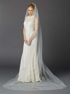 Mariell Ivory Tulle with Silver Accents As Shown Long Cathedral Length One Layer Cut Edge In 4433v Bridal Veil