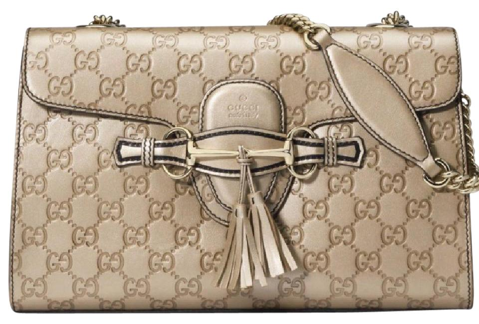 a1ef865b907 Gucci Emily Guccissima Medium Chain Golden Metallic Leather Shoulder ...