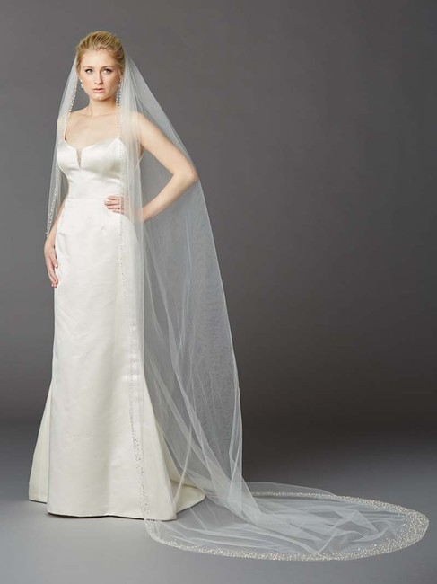 Mariell Ivory Long Cathedral with Dramatic Crystal 4424v-i Bridal Veil Mariell Ivory Long Cathedral with Dramatic Crystal 4424v-i Bridal Veil Image 1