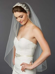 Mariell Ivory Tulle with Silver Accents As Shown Long Fingertip Embroidered Lace 4421v-i-s Bridal Veil