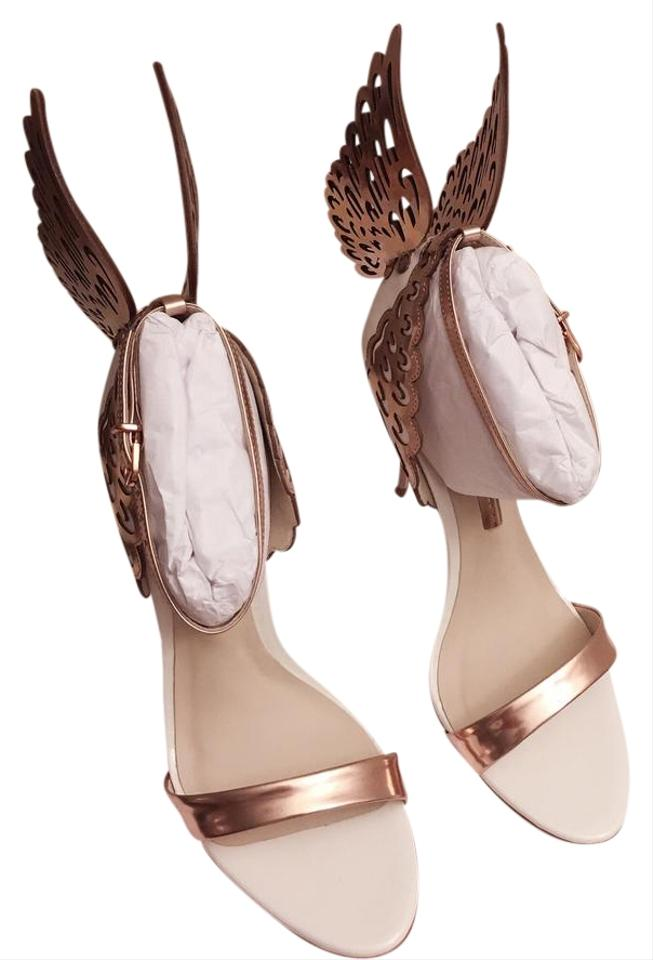 21385397f Sophia Webster Rose Gold/White Evangeline Angel Wing Sandal Boots ...