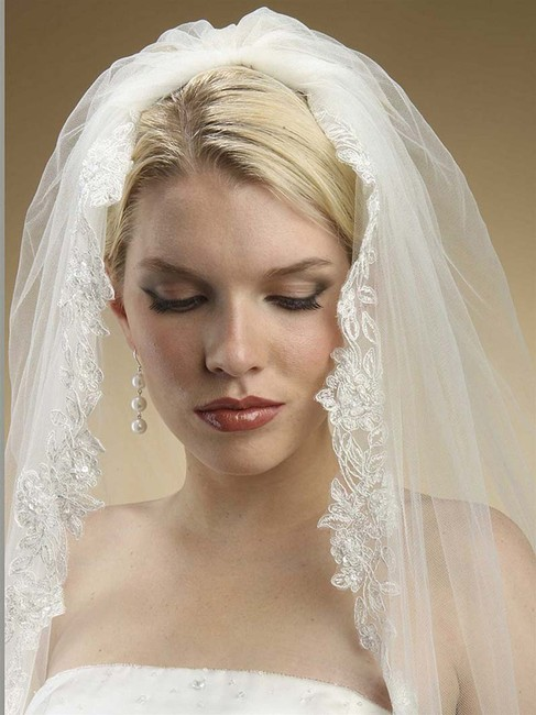 Mariell Ivory Tulle with Silver Accents As Shown Long Alencon Lace Embroidered Mantilla 3331v Bridal Veil Mariell Ivory Tulle with Silver Accents As Shown Long Alencon Lace Embroidered Mantilla 3331v Bridal Veil Image 1