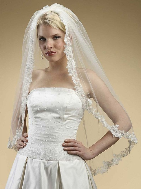 Mariell White Tulle with Silver Accents As Shown Long Alencon Lace Embroidered Mantilla 3331v Bridal Veil Mariell White Tulle with Silver Accents As Shown Long Alencon Lace Embroidered Mantilla 3331v Bridal Veil Image 1