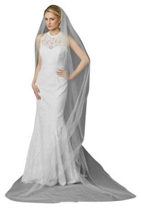 Mariell White Tulle with Silver Accents As Shown Long Cathedral Length Edge In 4433v-108-w Bridal Veil