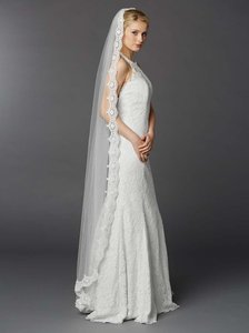 Mariell White Tulle with Silver Accents As Shown Long Floor Or Chapel Length Mantilla Lace 3325v-w Bridal Veil