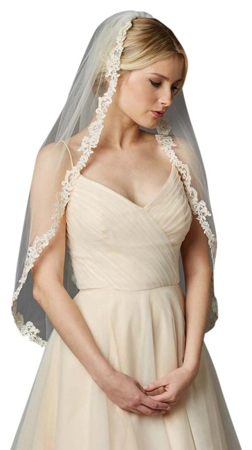 Item - Rum Pink Tulle with Silver Accents As Shown Long Fingertip Length Mantilla Embroidered Lace 4419v-i-rmpk Bridal Veil