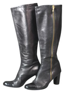 Claudia Ciuti Knee High Go Go Cap Toe Patent Leather Italian Black Boots