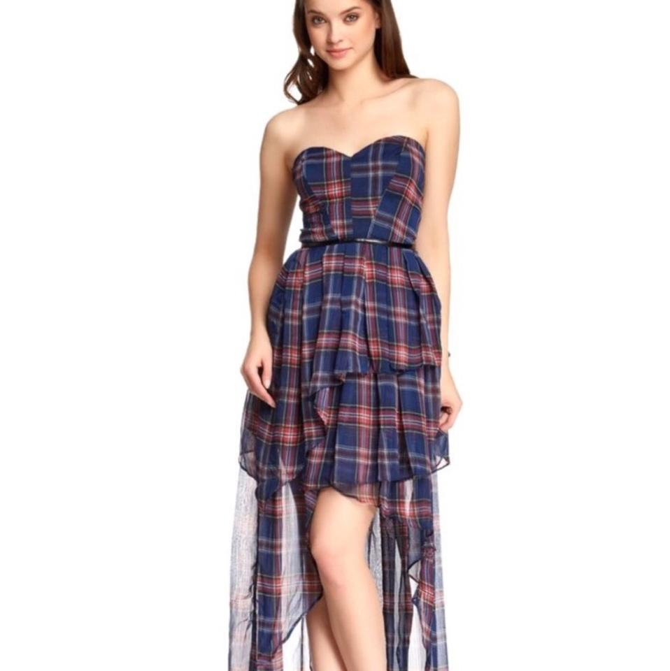 TOV Holy Red + Blue Plaid Red/Blue Hi/Lo Long Casual Maxi Dress Size ...
