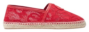 Carolina Herrera Espadrille Embroidered Lace Red Flats
