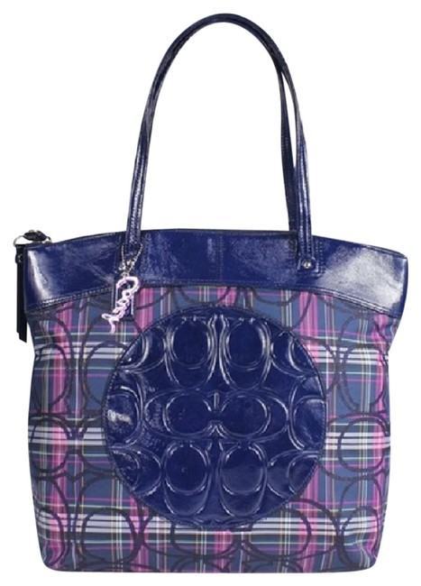 Coach Like New~beautiful Laura Signature Slim Navy/Purple/Pink/Silver/Multicolor Tartan Canvas/Leather Tote Coach Like New~beautiful Laura Signature Slim Navy/Purple/Pink/Silver/Multicolor Tartan Canvas/Leather Tote Image 1