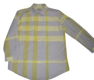 Burberry Button Down Shirt gray and yellow