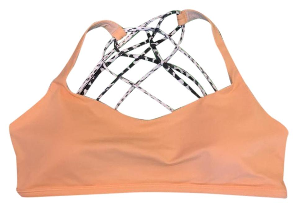 6c843a354d Lululemon Peach Orange Animal Print Free To Be Wild Crisscross Back Top  Activewear Sports Bra