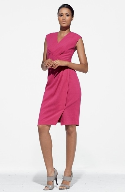 Lafayette 148 New York Bridesmaid Casual Formal Hot Cocktail Pleated Wrap Wedding Prom Dress