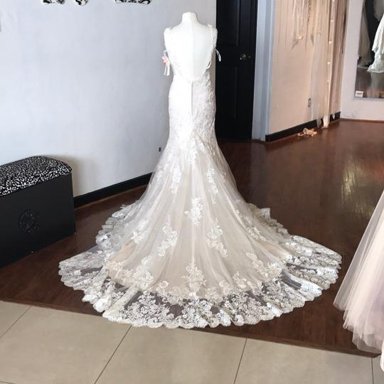 Ivory Over Light Gold Lace Tulle And Duchess Satin Madora