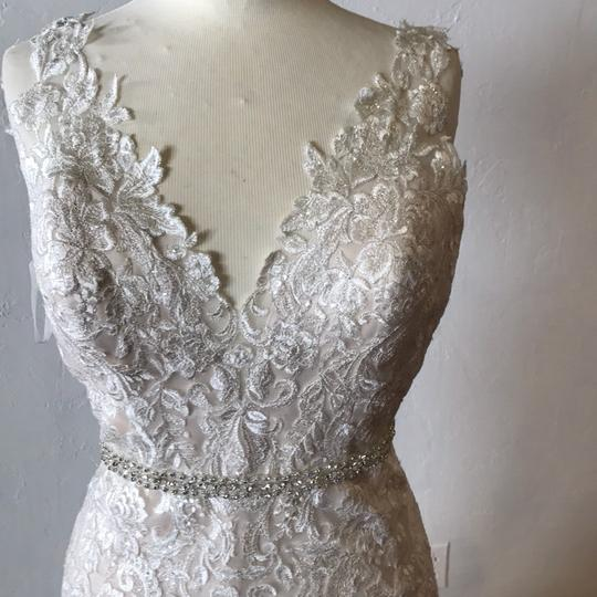Vintage Wedding Dress Size 8: Ivory Over Light Gold Lace Tulle And Duchess Satin Madora