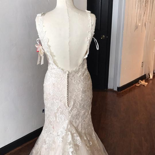 Vintage Wedding Dress Size 8: Mori Lee Ivory Over Light Gold Lace Tulle And Duchess