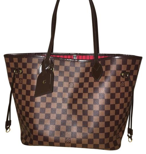 louis vuitton neverfull mm damier ebene canvas with red interior tote tradesy