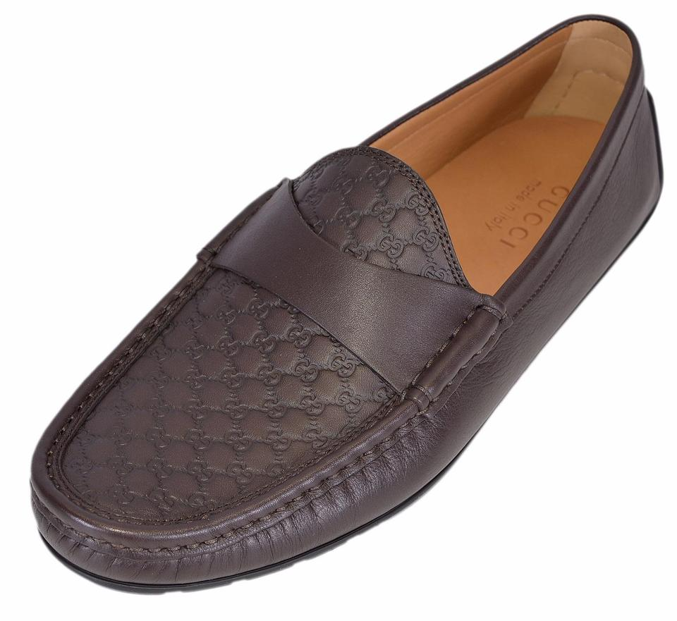 2c50b5bc582 Gucci Brown New Men s 466904 Leather Gg Guccissima Loafers 8.5 G Flats Size  US 9.5 Regular (M