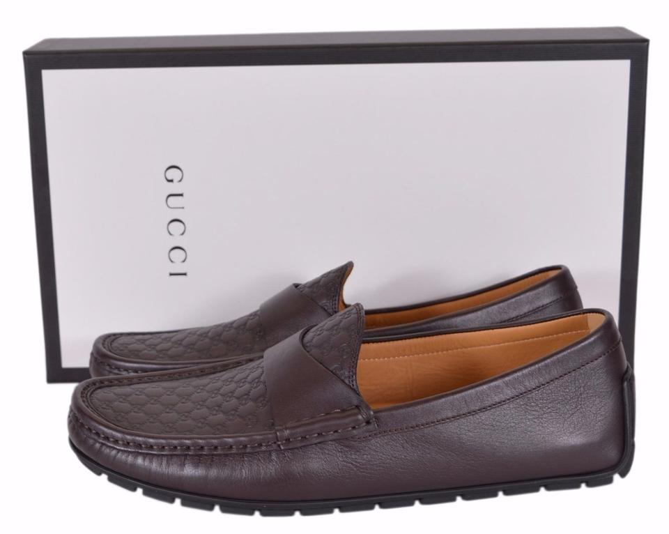 af87163d2c5 Gucci Brown New Men s 466904 Leather Gg Guccissima Loafers 8.5 G Flats Size  US 9.5 Regular (M