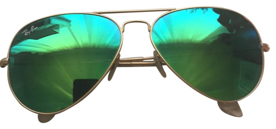 Ray-Ban Green Mirrored Lenses with Gold Frame Flash Aviator Sunglasses aa3e17df0fb10