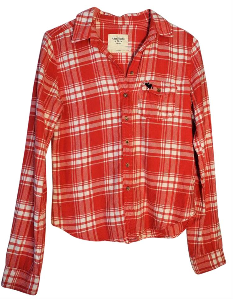 Abercrombie Fitch Red And White Plaid Shirt Button Down