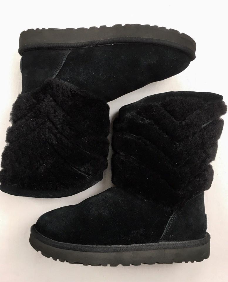 e5425108a94 UGG Australia Black Uggs Sale Tania Leather Chevron Shearling Winter  Boots/Booties Size US 7 Regular (M, B) 40% off retail
