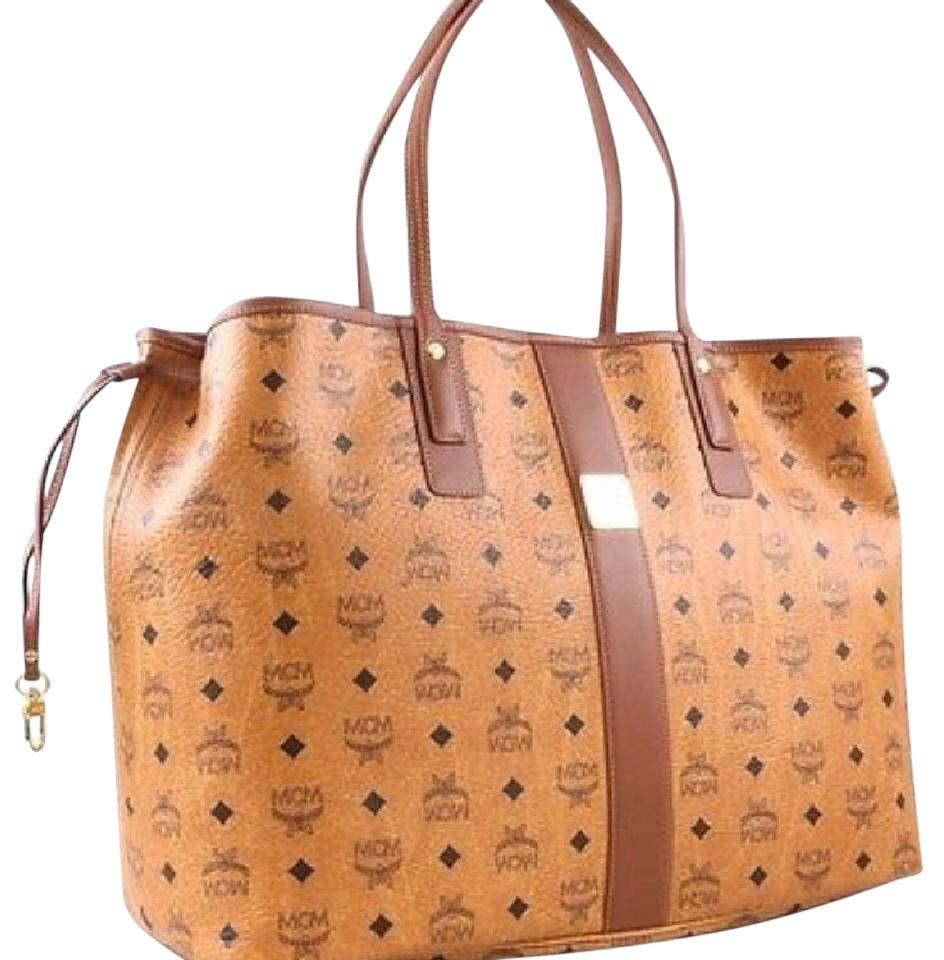 dea9830c1fbb4 MCM Liz Reversible Large Visetos Brown Canvas Tote - Tradesy