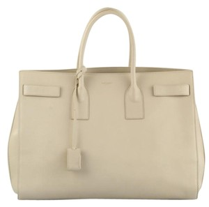 Saint Laurent Leather Tote in Nude