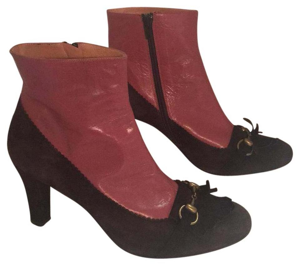 Pink/Brown Leather Leather Pink/Brown and Suede Ankle Boots/Booties e4e776