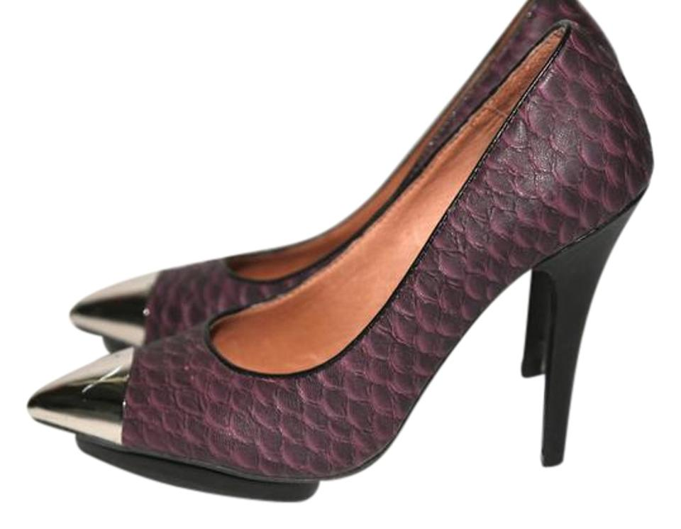 bbdda964440d Jeffrey Campbell Purple Bullet Snake Print Leather Heels Pumps Size ...