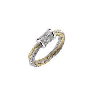 Charriol Alor Classique Modern Cable Diamond Ring Two Tone Gold 02-34-S505-11