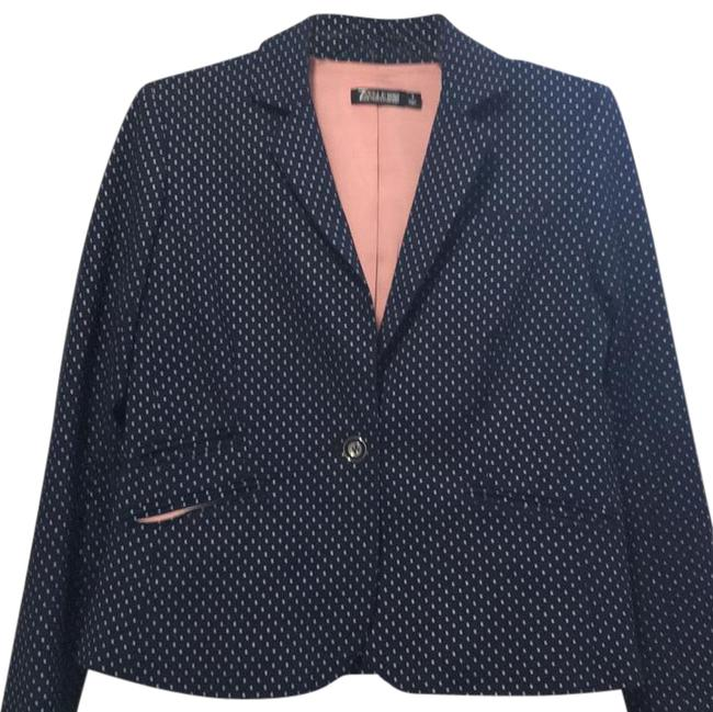 Item - Blue and White Polka Dot with Pink Lining 7th Ave Design Studio Blazer Size 8 (M)
