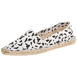 Report Signature Espadrille Pointed Toe Print Signature white and black Flats