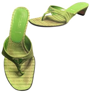 Prada Kitten Heels Casual Monogram Green Sandals