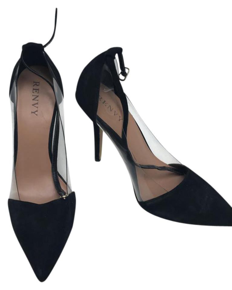 Renvy Suede Black Suede Renvy and Strap Heels Pumps 05d26b
