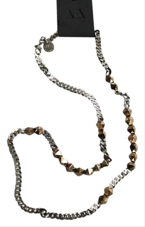 A X Armani Exchange Gold Silver Trendy Studded Chain Necklace - Tradesy 68fcc2aaf0